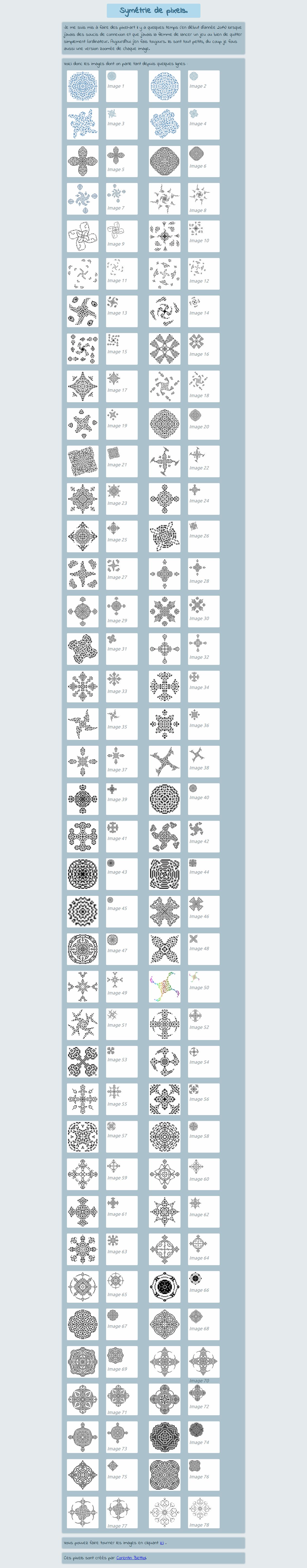 screenshot projet symétrie de pixels